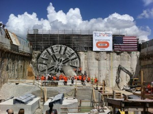 View_of_TBM_Cutterhead_and_Tunnel_Workers_Exiting_Machine-300x224